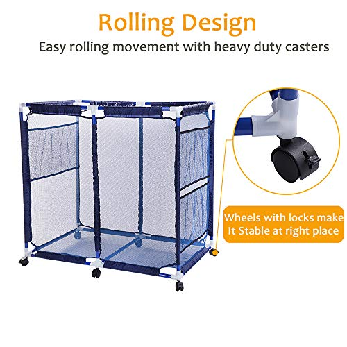 "Snail Pool Mesh Storage Bin Rolling Poolside Storage Cart Container for Beach Balls, Floats, Swim Toys and Accessories Waterproof UV Resistant 36""x24""x36"" Large Mesh Basket Organizer, Modern Blue"