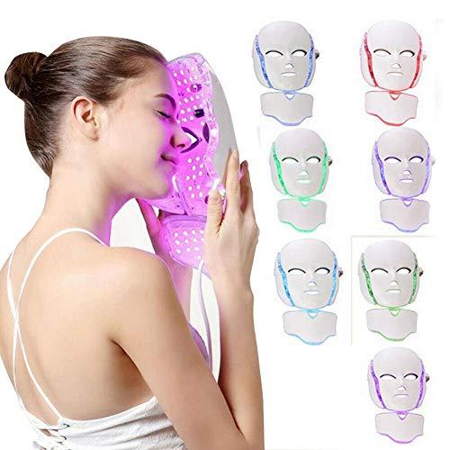 QIYU Led-gezichtsmasker met 7 kleuren, led-masker voor de behandeling van verjonging van de huid van het gezicht van de nek, verstevigt het bleekmiddel tegen rimpels