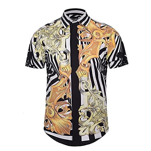 SSBZYES Herrenhemd Kurzarmhemd Klassisches Muster 3D-Digitaldruckhemd Summer Tide Brand Casual Herren-Revers-Streifenhemd