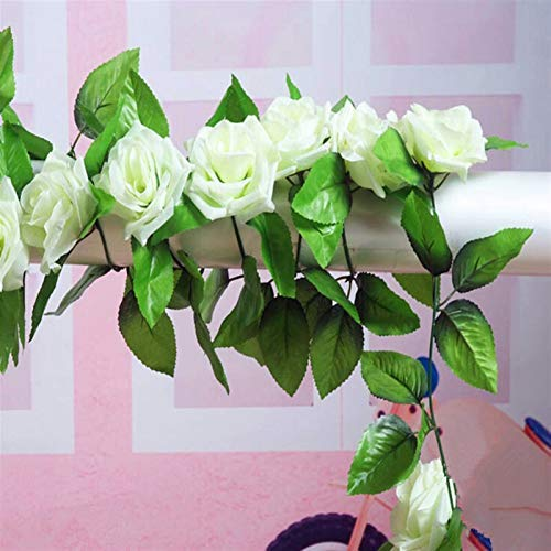 Eternal flower 4pcs/bag Ivory 8.2ft Artificial Silk Rose Flower Ivy Vine Leaf Garland With Green Tint Centre Leave LeafWedding Party Decor Artificial Flowers (Color : 4X ivory)