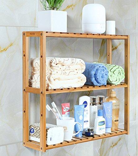 Homfa Scaffale in Legno 3 Ripiani da Parete con DIY, Mensole Doccia Scaffale Portasapone Libreria Espositore da Muro in bambù 60 × 15 × 54cm