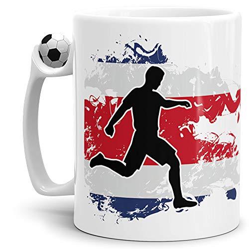 Tassendruck Flaggen-Tasse mit Spieler Costa Rica - Rica Fussball-Tasse - Fahne/Länderfarbe/WM/EM/Weltmeisterschaft/Europmeisterschaft/Cup/Tor/Qualität Made in Germany