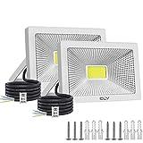 50W*2 CLY LED Faretto , Luce di Sicurezza Impermeabile IP66, Faro LED Esterno, 5000LM Bianco Freddo 6500K, Faretti LED per Giardino, Corridoio, Terrazza, Patio(2 pcs)