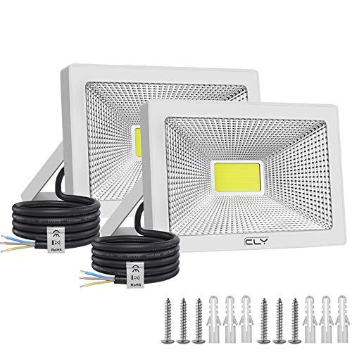CLY LED Strahler 50W Scheinwerfer Flutlicht IP66 für außen und innen. 6500K kaltesWeiß Außenstrahler Außenleuchte Fluter Strahler 5000LM für Garage Garten Hinterhof [2Stück]