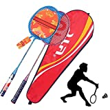 GUOHAPPY Raqueta Badminton, Incluyendo 2 Raquetas y 1 Raqueta de Almacenamiento de la Bolsa, es el Ideal de bádminton para Toda la Familia de Vacaciones Garden Beach