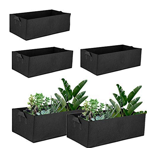 5Pcs Rectangle Grow Bag Planter Felt Plants Bags Vegetable Container Square Fabric Planting Pots with Handles Outdoor Indoor Salad Tomato Potato Flowers Garden Bed Bags (60 * 30 * 20cm)