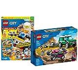 Lego 60288 City Rennbuggy-Transporter 60288 - Juego de cartas (incluye póster, cómics, rompecabezas), incluye bolsa de plástico con figura de Stuntman