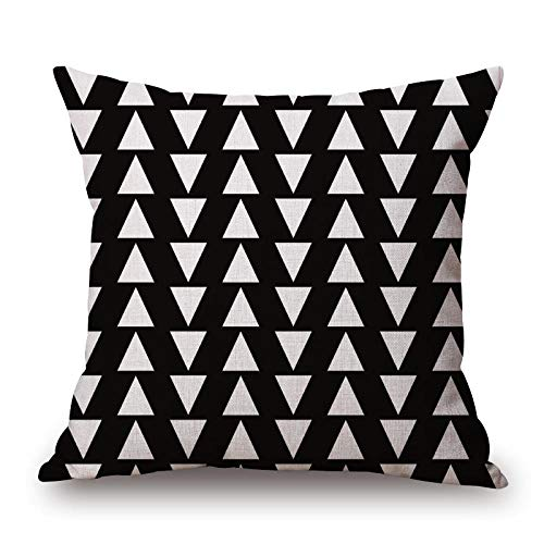 xiaoxong658 Throw Pillow Nordic Simple Black and White Geometric Cotton and Linen Pillowcase Classic Triangle Sofa Cushion Hotel car pillow-45X45cm_M-45 97103 Square Pillow