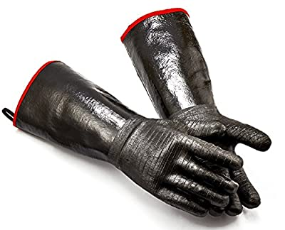 RAPICCA BBQ Gloves 14 Inches,932?,Heat Resistant-Smoker, Grill, Cooking Barbecue Gloves, for Handling Heat Food Right on Your Fryer,Grill,Oven. Waterproof, Fireproof, Oil Resistant Neoprene Coating