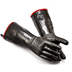 RAPICCA BBQ Oven Gloves 14 Inches,932℉,Heat Resistant-Smoker, Grill, Cooking Barbecue Gloves, for Handling Heat Food Right on Your Fryer,Grill, Waterproof, Fireproof, Oil Resistant Neoprene Coating