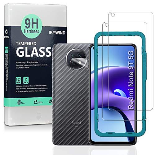 Ibywind Cristal Templado para Redmi Note 9T 5G [2 Piezas],con Protector de Lente de Cámara,Atrás Pegatina Protectora Fibra de Carbono,Incluyendo Kit de instalación fácil