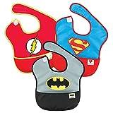 Bumkins SuperBib, Baby Bib, Waterproof Fabric, Fits Babies and Toddlers 6-24 Months - DC Comics, Batman, Superman, The Flash (3-Pack)