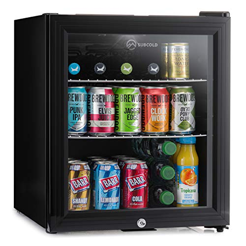Subcold Super50 LED – Mini Fridge Black | 50L Beer, Wine & Drinks Fridge | LED Light + Lock & Key | Low Energy A+ (Black)