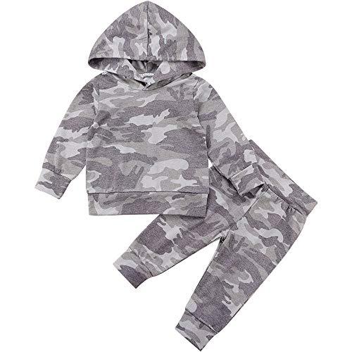 Newborn Daddy's Jungen Camouflage Kleidung Set Infant Hoodies Top + Hose Kleinkind Hoodie Outfit Set Gr. 6-12 Monate, Grau 4