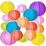 MEZOOM 20 linternas redondas chinas de colores y tamaños surtidos, pantallas de papel para colgar decoraciones para jardín, fiestas de cumpleaños, reunión familiar, patio, decoración