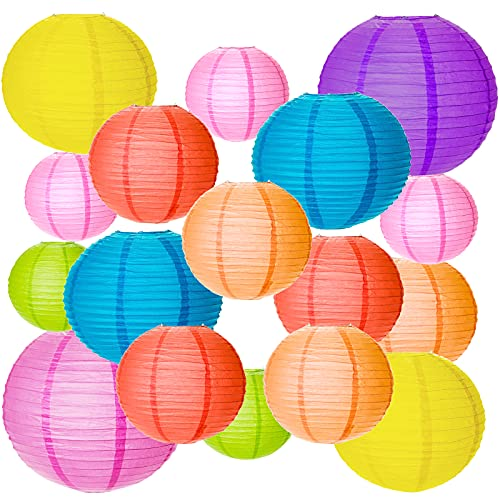MEZOOM 20Pcs Lampions Colorés en Papier Chinoises Boule Papier Lanternes Asiatique Suspension pour Intérieurs Extérieurs Décoration Mariage Nouveau an Fêtes Baby Shower Bapteme 4 Taille