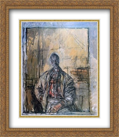 Diego a la Chemise Ecossaise 2X Matted 28x40 Large Gold Ornate Framed Art Print by Alberto Giacometti