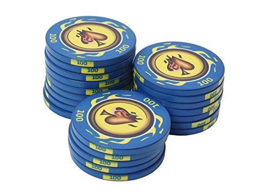 suplaya 25 Pokerchips Keramik 10,5g Fire-Spades hochwertige Markenware einzigartig (blau - Wert 100)