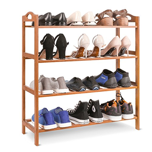 Homfa Bamboo Shoe Rack 4-Tier Entryway Shoe Shelf Storage Organizer for Home & Office Easy to Assemble, Natural