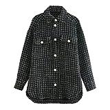 Chaqueta suelta de lana larga de manga larga con hebilla de una hilera de manga larga a cuadros, Negro, XL
