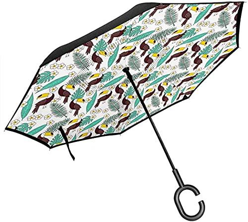 ombrello portatile con manico Ombrelli Tropicali Monstera E Foglie Di Palma Con Uccello Tucano Hawaiano Con Manico A Forma Di C