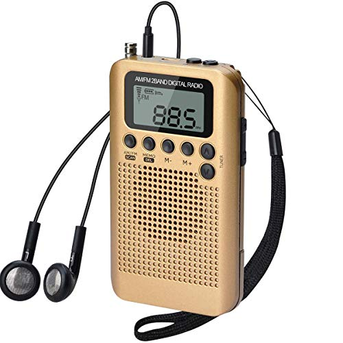 Lychee Radio de Bolsillo Portátil Mini Am Radio FM con Altavoz, Reloj Despertador y Temporizador para Dormir, Altavoz