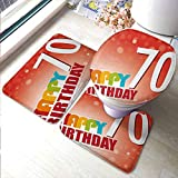 U-Shaped Contour Rug Mat & Toilet Lid Cover Set 70th Birthday,Vivid Colored Abstract Backdrop with Happy Birthday Slogan Image Print,Red and Orange,Floor Mats for Living Room