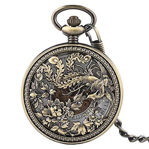 JTWMY Hermoso Reloj de Bolsillo mecánico Phoenix, Colgante Afortunado, Tallado de Flores, Relojes automáticos, predeterminado