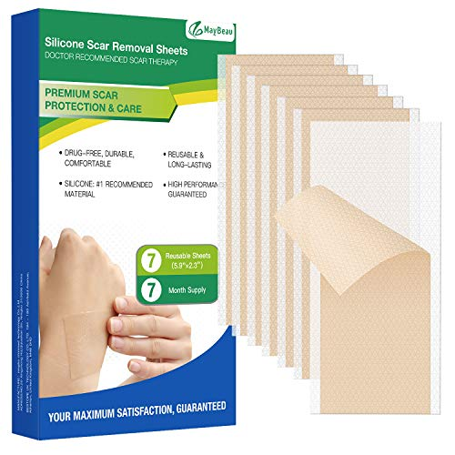 MayBeau Silicone Scar Sheets, 7 PCS Sheets (7 Month Supply) Medical Silicone Scar Patch for Soften and Flattens Old & New Scars on Keloid Surgery Injury Burns Acne C-Section Scars and More (5.9'×2.3')