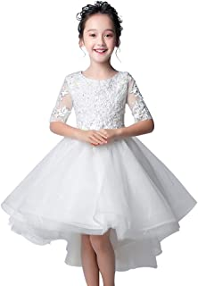 子供ドレス 女の子 花 五分袖キッズ フォーマルドレス ホワイト