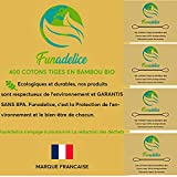 Funadelice - 400 algodones biodegradables de bambú orgánico para las orejas, madera vegana, oriculi infusado, aceite de ricino orgánico, para limpiar las orejas y evitar otitas, algodón, sin BPA