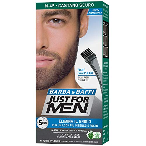 Just for Men Barba & Baffi, M45 – Castano Scuro, Gel Colorante con Pettine Applicatore, Elimina il Grigio per un Look più Intenso e Folto