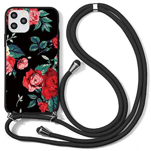 Yoedge Funda con Cuerda para Huawei P9 Lite 2017/ Huawei P8 Lite 2017 5.2″ flores Carcasa de Suave Silicona Case con Colgante Cordon Colgar Collar Correa de Cuello Cadena Cordón el teléfono, Flor rosa