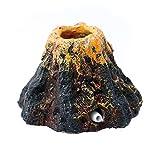 QINGCHU Acuario con forma de volcán y aire burbuja de piedra, bomba de oxígeno