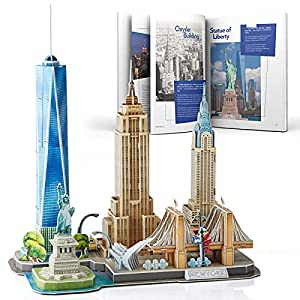 CubicFun 3D Puzzles for Adults Newyork Cityline Architecture Building Model Kits Collection Toys Gift Keepsake for Men and Women, statue of liberty, Empire State Building, Chrysler Building 123 Pieces from Cubicfun