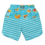 i play. by green sprouts Boys' Board Shorts with Built-in Reusable Absorbent Swim Diaper, Aqua Surf Sunset, 12mo