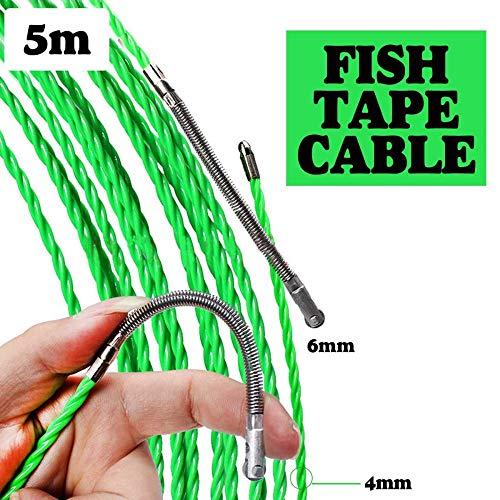 Fayella 4mm 5m / 15m / 25m Cable de fibra de vidrio Tiradores de empuje Conducto Serpiente Rodder Cinta de pescado Alambre POM Cinta de extracción de pescado Tirador de cable eléctrico, 5M