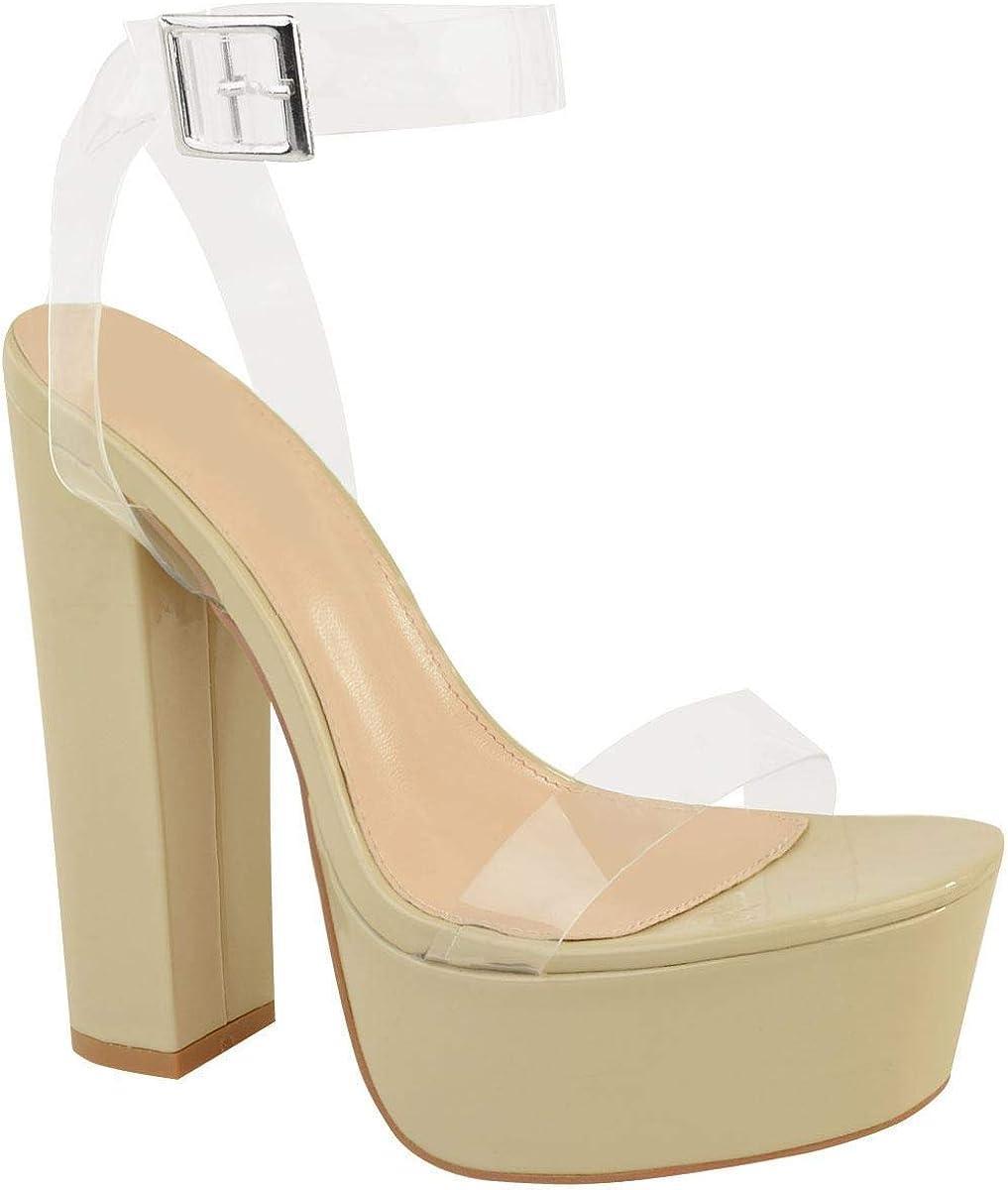 Fashion Thirsty Womens Ladies Perspex Sanda New York Mall High order Glass Clear Platform