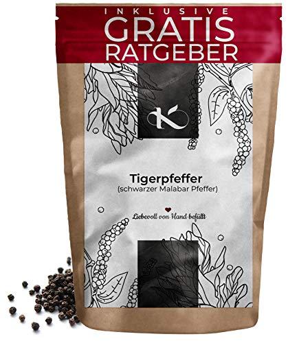Malabar Pfeffer schwarz ganz 250g Tigerpfeffer | Gourmet Pfeffer Malabar aus Indien inkl. Gratis Ratgeber | Qualitäts Schwarzpfeffer für Pfeffermühle