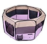 PawHut 49.2-inch Large Exercise Puppy Pet Playpen Portable Dog Cat Pet Play Pen Pet Cage Tent Kennel Crate Pink + Carry Bag