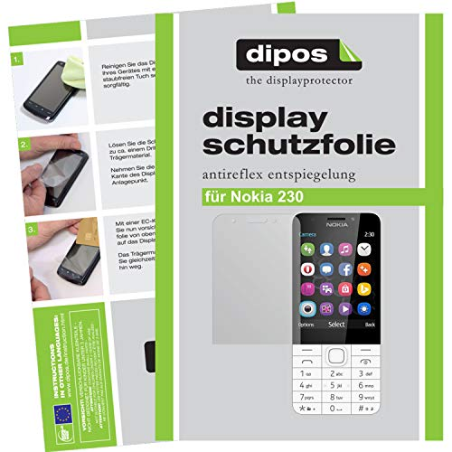 dipos I 6X Schutzfolie matt kompatibel mit Nokia 230 Folie Bildschirmschutzfolie