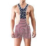iooico Men's Wrestling Singlet, American Flag Print Sport Bodysuit Underwear X-Large