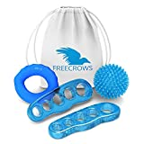 Freecrows - Separatori per dita dei piedi/Hand Grip Strengthener Workout/Spiky Massage Ball Set - Blue Gel Foot Stretcher per combattere alluce valgo - Hammer Toe Fitness Kit