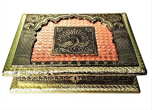 Purpledip 11498 Meenakari-box van hout, met schilderij pauw in My Window, ideaal voor 500 g noten, snoep, chocolade of munt.