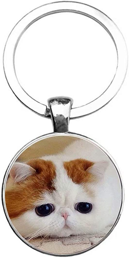 Dandelion Cat with Mouth Up,Animal Keychains,Personality Fashion,Birthday Gift Keyrings