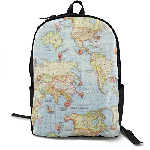 sghshsgh Mochilas Tipo Casual,Travel Backpack Laptop Backpack Large Diaper Bag - Atlas World Map Blue Travel Backpack School Backpack for Women & Men Hiking Cool Duffle Bag