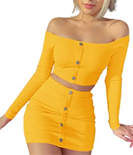 Women Sexy Off Shoulder Button Down Crop Top High Waist Bodycon Midi Skirt Two Piece Outfits