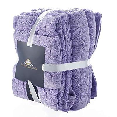 BAGNO MILANO 100% Turkish Cotton Jacquard Luxury Towel Set ? Quick Dry Non-GMO Ultra-Soft, Plush and Absorbent Luxury Durable Turkish Towels Set (Lavender, 6 pcs Towel Set)