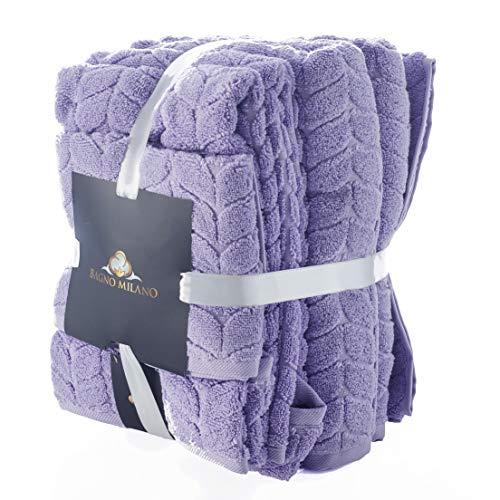 Bagno Milano 100% Turkish Cotton Jacquard Luxury Towel Set – Quick Dry Non-GMO Ultra-Soft, Plush and Absorbent Luxury Durable Turkish Towels Set (Lavender, 6 pcs Towel Set)