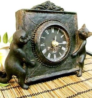 アジアン雑貨 バリ雑貨 ブロンズ調ネコ置時計(2匹タイプ) 置き時計 テーブルクロック 木製 天然木